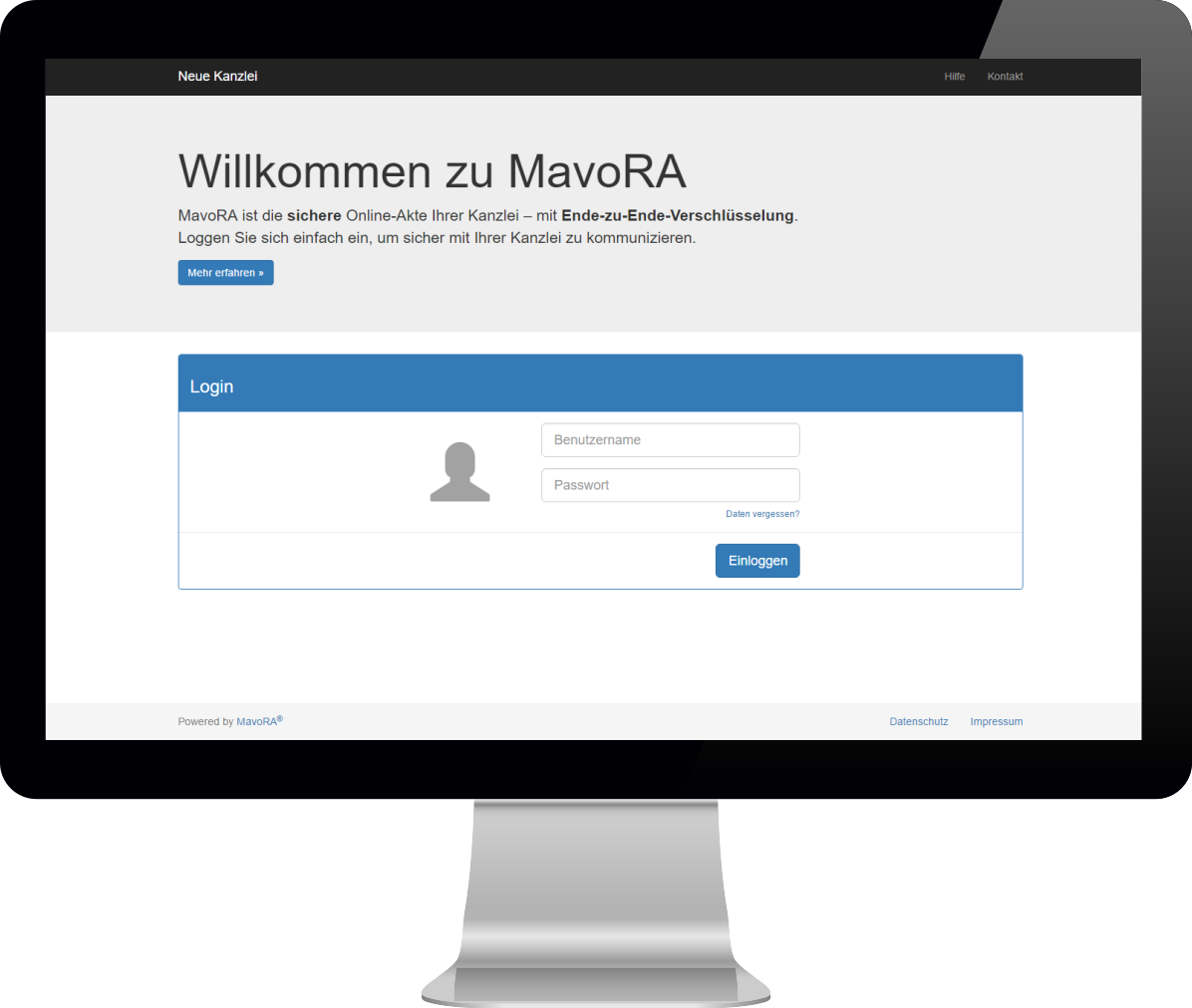 Screenshot des Login-Formulars vor Konfiguration durch Kanzlei